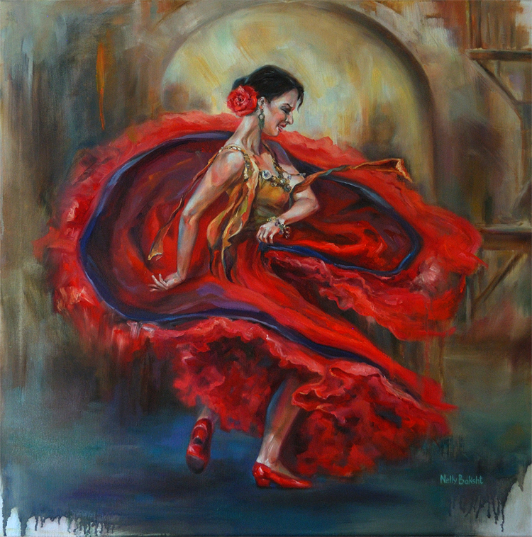 flamenco-dance,oil on canvas 30 x 30