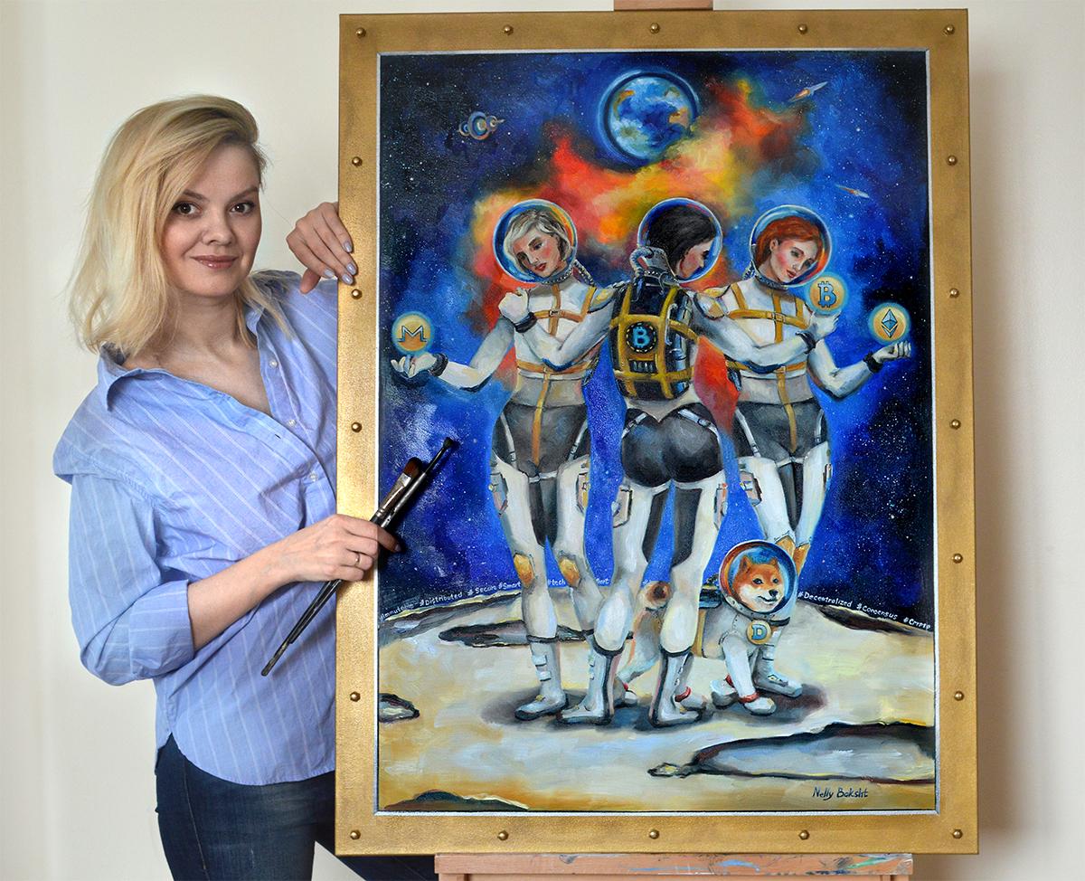 Artist Nelly Baksht with crypto art work 3 Graces