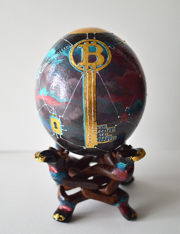 Crypto art - painting on ostrich egg by Nelly Baksht