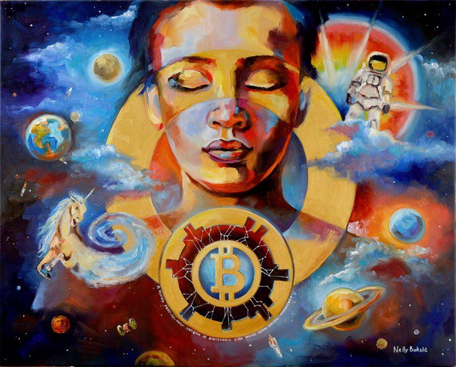 Absolute Start, crypto art, 30x24 oil on cavas