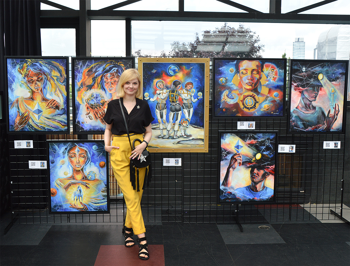 Crypto artist Nelly Baksht at cryptoart gallery Futurist 2019